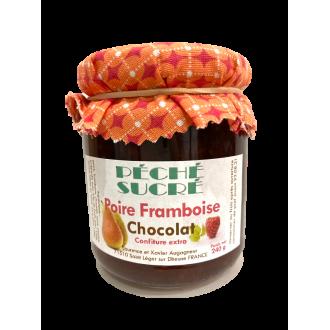 Confiture extra poire framboise chocolat